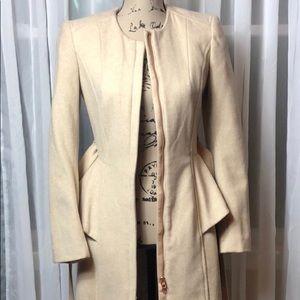 Peplum Beige long Belted Coat Size 4